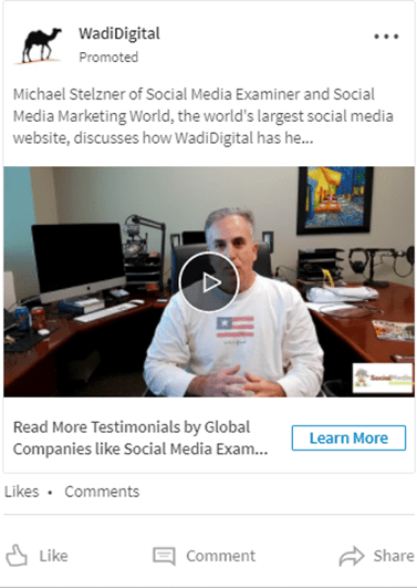 linkedin promoted video ad